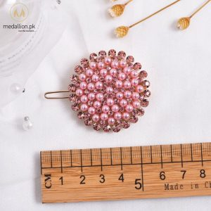 Fashion Pink Pearl Rhinestone Round Hair Pin-0