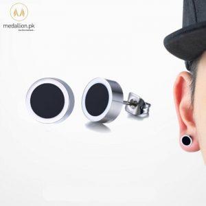 Men Stainless Steel Black Stud Earrings.-0
