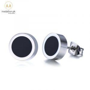 Men Stainless Steel Black Stud Earrings.-646