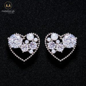Korean Silver Plated Imitation Pearl CZ Heart Earrings -0