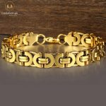 Stainless Steel Byzantine Gold Plated Chain Bracelet-0
