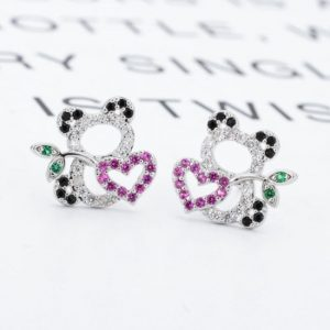 Multicolor Little Panda Cubic Zirconia Stud Earrings for Girls-661