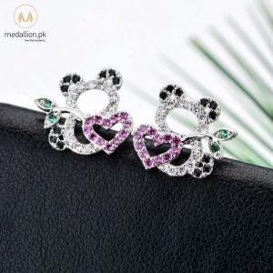 Multicolor Little Panda Cubic Zirconia Stud Earrings for Girls-0