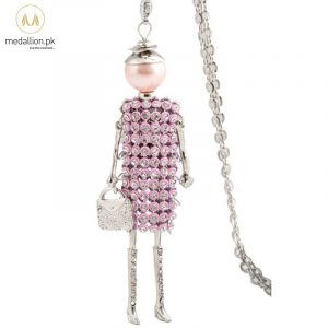 Pink Dress Doll Rhinestones Long Chain Necklace for Girls-0