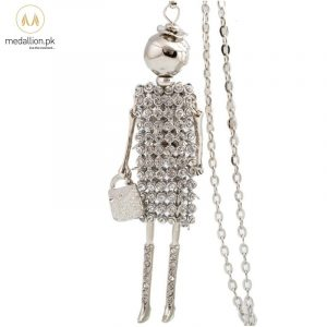 Silver Dress Doll Rhinestones Long Chain Necklace for Girls-0