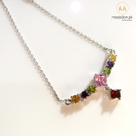 Multicolor White Gold Plated CZ Necklace – 2