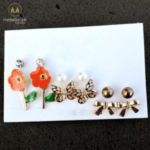 Gold & Orange Color Stud Earrings Set-0