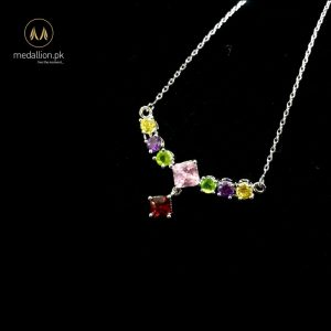 Multicolor White Gold Plated CZ Necklace-0