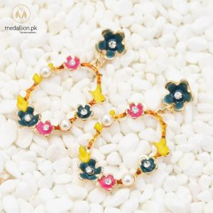 Multicolor Flower Pearl & Rhinestone Drop Earnings -681