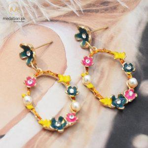 Multicolor Flower Pearl & Rhinestone Drop Earnings -0