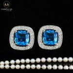 White Gold Plated Blue CZ Trendy Stud Earrings.-0