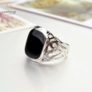 Platinum Plated Black CZ Vintage Ring for Men-0