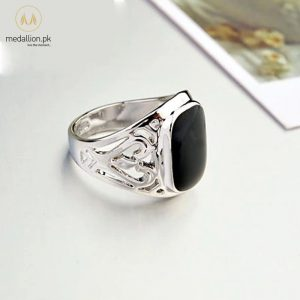 Platinum Plated Black CZ Vintage Ring for Men-755