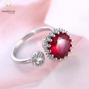 Ruby Red Color CZ Silver Plated Adjustable Ring-0