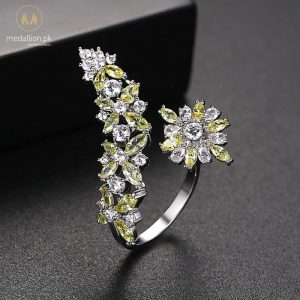 White Gold Plated Yellow Cubic Zirconia Adjustable Ring-746