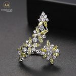 White Gold Plated Yellow Cubic Zirconia Adjustable Ring-0