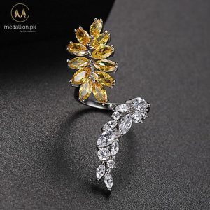 White Gold Plated Yellow Vintage Leaf Adjustable Ring-0