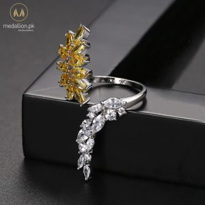 White Gold Plated Yellow Vintage Leaf Adjustable Ring-749