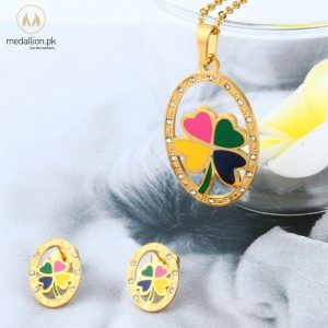Stainless Steel Gold Plated Flower Shape Jewelry Set-0