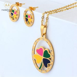 Stainless Steel Gold Plated Flower Shape Jewelry Set-741