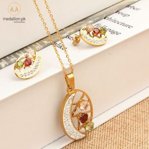 Stainless Steel Gold Plated Multicolor Jewelry Set-0