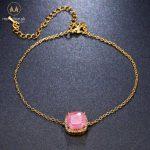 Luxury Square Semi Precious Stone Adjustable Chain Link Bracelet With Rhinestone Women Charm Bracelets Jewelry Accessories 1