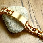 BIG J.W Casual Gold Color Bike Chain Bracelets Bangles for Men Jewelry Stainless Steel Biker Bicycle Motorcycle Chain Bracelet 1