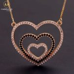 MHS.SUN Fashion Love Heart Zircon Pendant Necklaces For Women Jewelry Gold Color Chain Necklace CZ Crystal Christmas Gifts 1PC